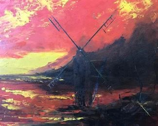 Oil on Board, Landscape w Windmill