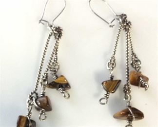 Tigers Eye Beaded Dangle Earrings