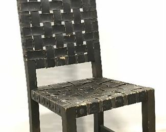 Antique Leather Woven Wooden Dining Chair
