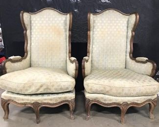 Pair Antique Victorian Style Wingback Chairs