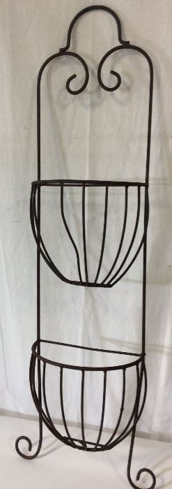 Metal Half Moon Wall Double Planter Basket