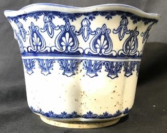 Vintage Blue & White Asian Porcelain Planter