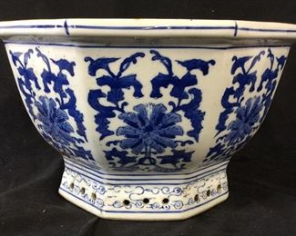 Asian Chinoiserie Porcelain Planter/ Centerpiece