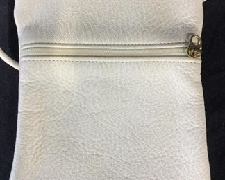 White Leather Cross Bag Pouch, Vintage