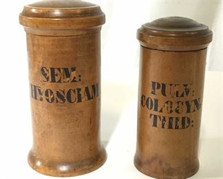 Pair Vintage Wooden Jars