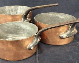 Collectibles Set 3 Villedieu Copper Iron Pots