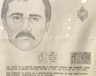 Framed Wanted Criminal Police Sketch