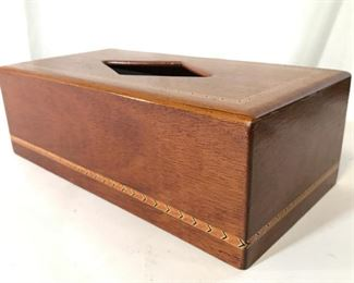 Inlaid Wooden Tissue Box Holder