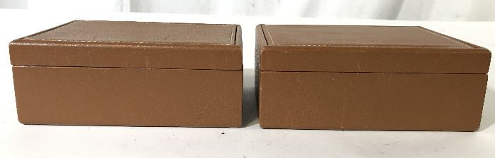 Pair Vintage Beige Toned Leather Keepsake Boxes
