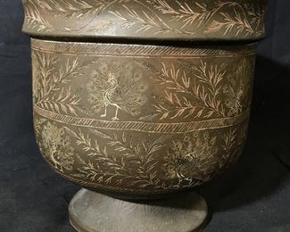 Hand Carved Peacock Metal Pot
