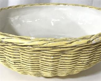 Pair Basket Weave Style Porcelain Dishes, Italy