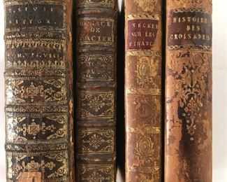Lot 4 Antique Leather Bound Books