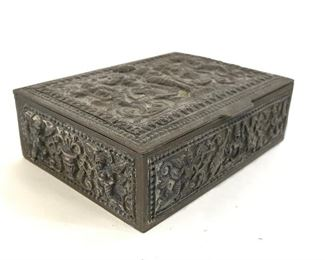 Antique Intricately Detailed Metal Keepsake Box