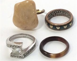 Lot 9 Fashion Rings, ladies estate costume jewelry