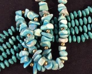Lot 2 Turquoise Stone Beaded Necklaces