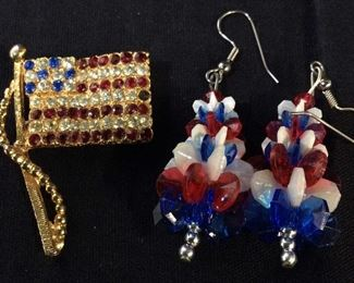 Rhinestone American Flag Pin, Dangle Earrings