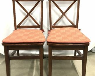 Pair PIER 1 Carved Wooden Side Chairs