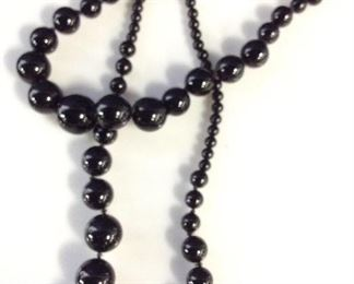 1920s Style Opera Length Onyx Bead Necklace