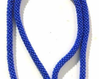Cornflower Blue Seed Bead Necklace