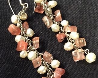 Pearl & Rose Quartz Style Dangle Earrings