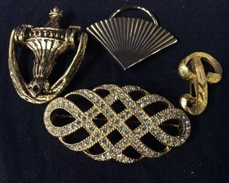 Lot 5 Gold Tone Brooches, Band, Scarf Clip