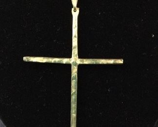 Hammered Metal Cross Gold Tone Necklace