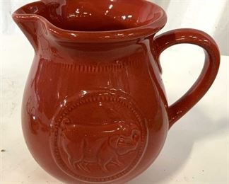 Red Pig Motif Ceramic Pithcer, Vessel