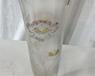 Painted FLoral Glass Vase