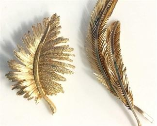 Lot 2 Laurel Leaf Mid Century Brooches