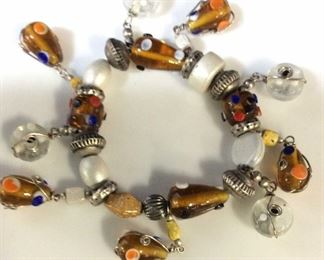 Glass Art Bead & Metal Charm Bracelet