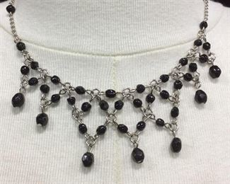 Arts & Crafts Edwardian Blk Bead Pointed Necklace