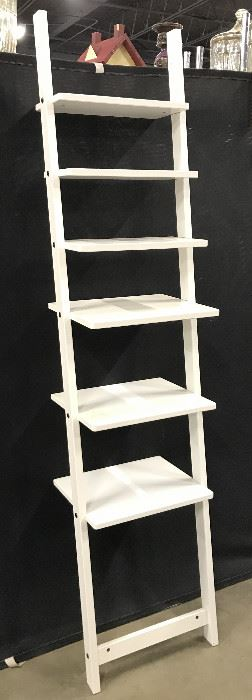 Leaning White Toned Ladder Shelf
