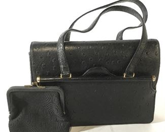 Black Faux Leather Hand Bag and Coin Purse
