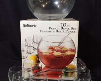 Pier 1 Imports Glass Punch Bowl 10 pc Set, Org Box