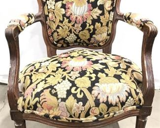 Vintage Carved Needlepoint Upholstered Arm Chair