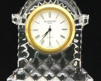 WATERFORD Gold Toned Rim Carriage Desk Clock