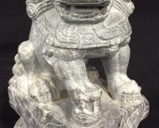 Pair Carved Stone Foo Dogs