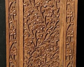 Floral Wood Carving Plaque Decor
