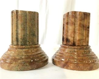 GENUINE ALABASTER Column Base Bookends, Italy