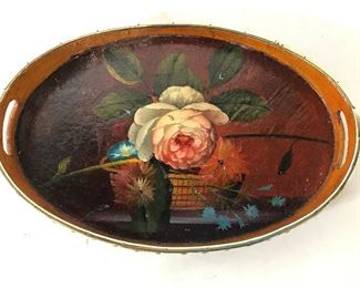 Vintage Hand Painted Wooden Serving Tray