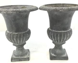 Pair Collectible Neoclassical Pair Metal Urns