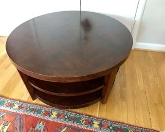 """$50 Paint Me! Circular two shelf table - AS IS 38"""" diameter, 20"""" H"""