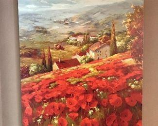 "$65 Tuscany scene wall art 48""L by 36"" H"