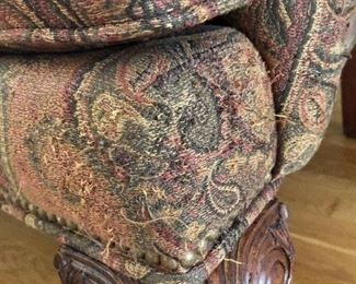 Detail - some fraying on right side of paisley arm chair