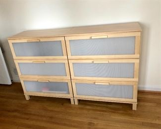 """$80 for left and $50 for right - 2 dressers 31.5 inches L by 16"""" wide.  One sticky drawer on right dresser."""