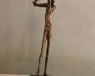 """Taller bronze statue 14.5"""" high by 4"""" base"""