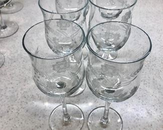 $30 6 etched wine glasses