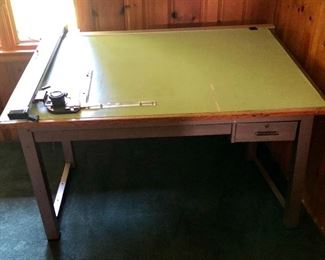 """$150 Mayline Company Drafting table 4 ft 11' long  inches long by 3 ft 2"""" wide by 30 and 1/2 inches high"""