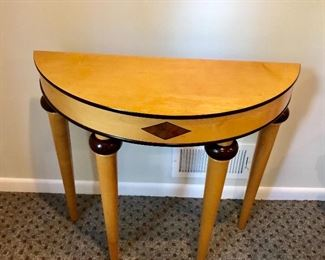 """$150 Bombay Company inlay demilune table 34"""" L by 13.5 inches wide by 30 inches High"""