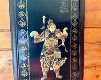 """$175 Warrior painting raised figure 42.5 """" H by 22.5"""" Wide"""